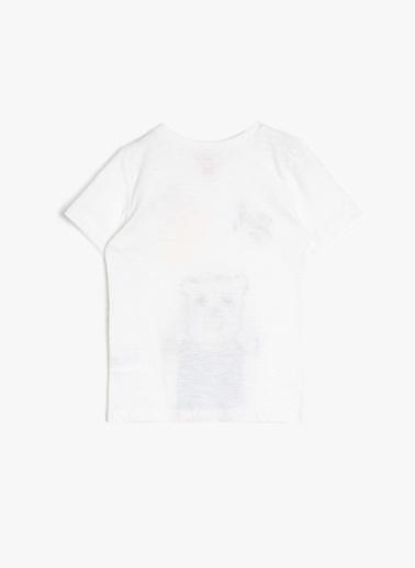 Koton Koton Yazılı Baskılı Bisiklet Yaka T-Shirt Ekru